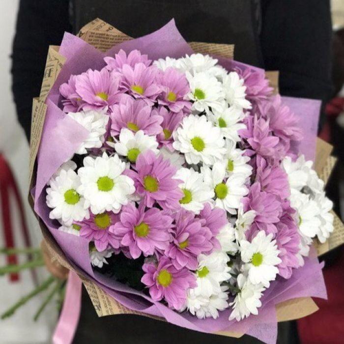 Букет хризантемы белые и розовые цветы, цветов